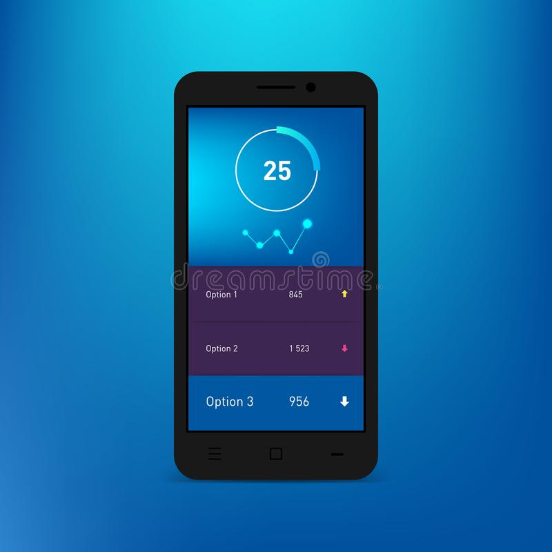 Infographic πρότυπο ταμπλό στην οθόνη smartphone Διανυσματικό πρότυπο κλίσης Σύγχρονο σχέδιο Ιστού UI Διαγράμματα πιτών, φραγμοί απεικόνιση αποθεμάτων