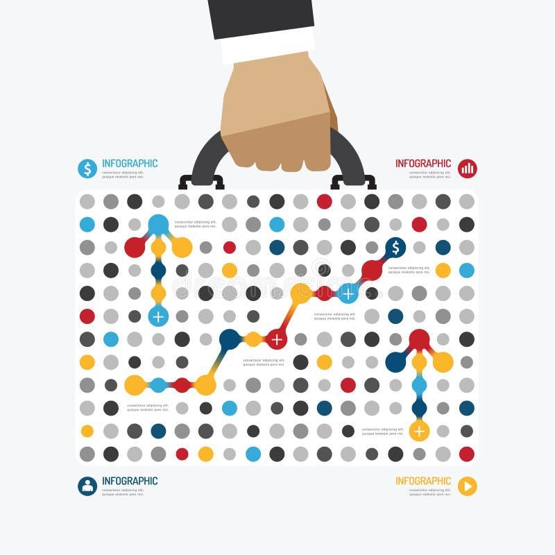 Infographic πρότυπο ύφους σημείων επιχειρησιακών τσαντών σύγχρονου σχεδίου διανυσματική απεικόνιση
