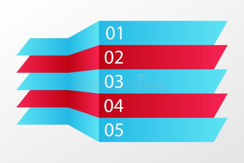 infographic σημάδι 5 βημάτων Σύμβολα μπλε και κόκκινων γραμμών για την επιχείρηση, σχέδιο Ιστού, πρότυπο Διανυσματικά στοιχεία διανυσματική απεικόνιση