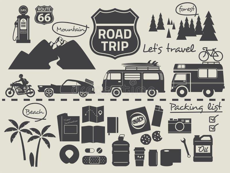 Infographic στοιχεία καταλόγων συσκευασίας οδικού ταξιδιού ελεύθερη απεικόνιση δικαιώματος