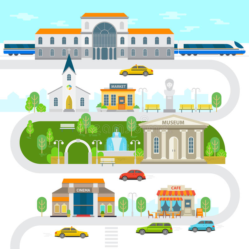 Infographic στοιχεία πόλεων, διανυσματική επίπεδη απεικόνιση κωμοπόλεων Σιδηροδρομικός σταθμός, μουσείο, κτήριο εκκλησιών, κινημα απεικόνιση αποθεμάτων