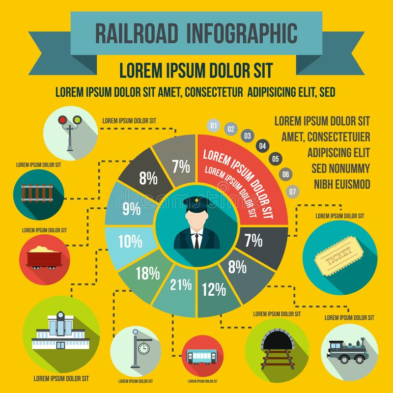 Infographic στοιχεία σιδηροδρόμου, επίπεδο ύφος απεικόνιση αποθεμάτων