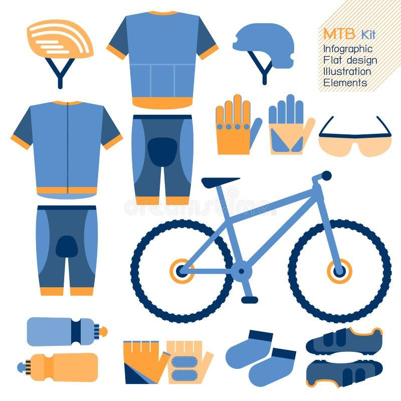 Infographic στοιχείο εξαρτήσεων ποδηλάτων βουνών ελεύθερη απεικόνιση δικαιώματος