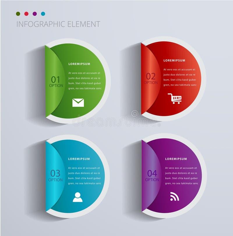 Infographic σχέδιο αυτοκόλλητων ετικεττών ετικετών εντύπου απεικόνιση αποθεμάτων