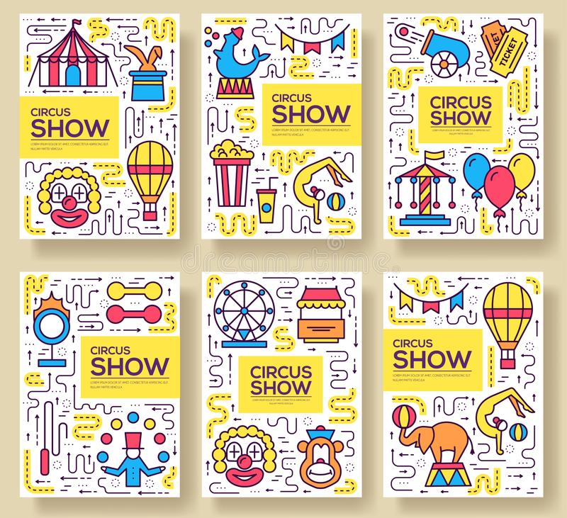 Infographic σύνολο εικονιδίων περιλήψεων τσίρκων εξαιρετικής ποιότητας Γραμμικό πακέτο συμβόλων φεστιβάλ Σύγχρονος παρουσιάστε πρ ελεύθερη απεικόνιση δικαιώματος