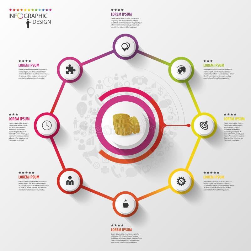 Infographic χρυσή ιδιοκτησία βασικών πλήκτρων επιχειρησιακής έννοιας που φθάνει στον ουρανό Ζωηρόχρωμο οκτάγωνο με τα εικονίδια δ απεικόνιση αποθεμάτων