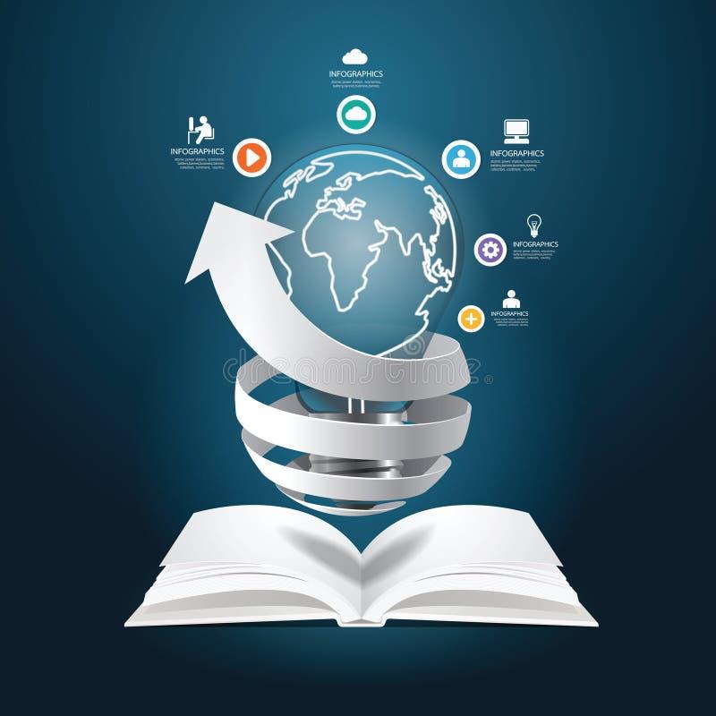 Infographic завертывает стиль в бумагу отрезка бумаги диаграммы книги диаграммы творческий иллюстрация штока