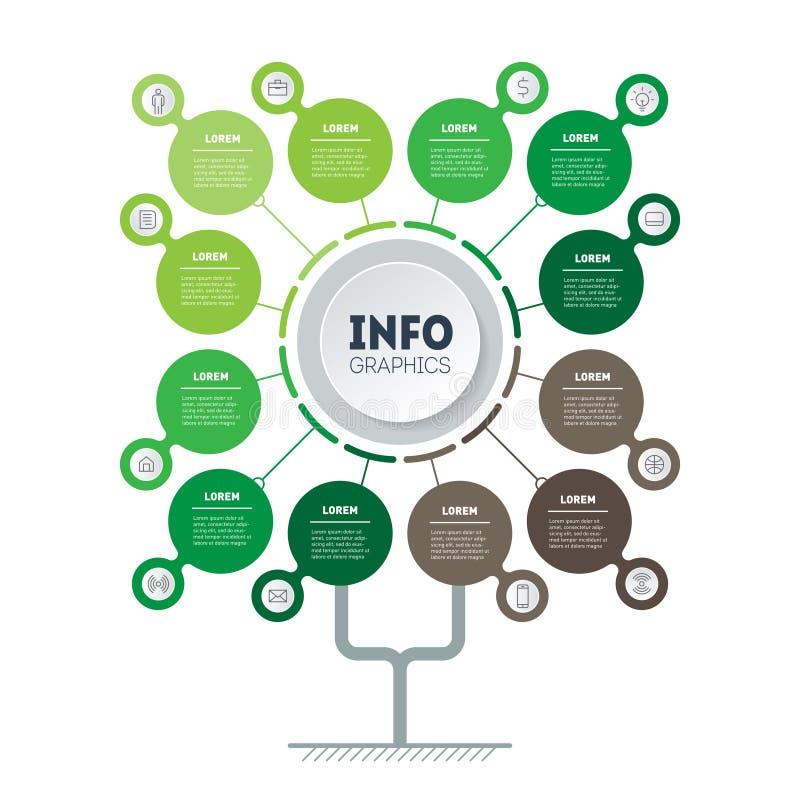 Infographic зеленого процесса технологии или образования с 12 пунктами Шаблон дерева, диаграммы информации или диаграммы Вертикал иллюстрация штока
