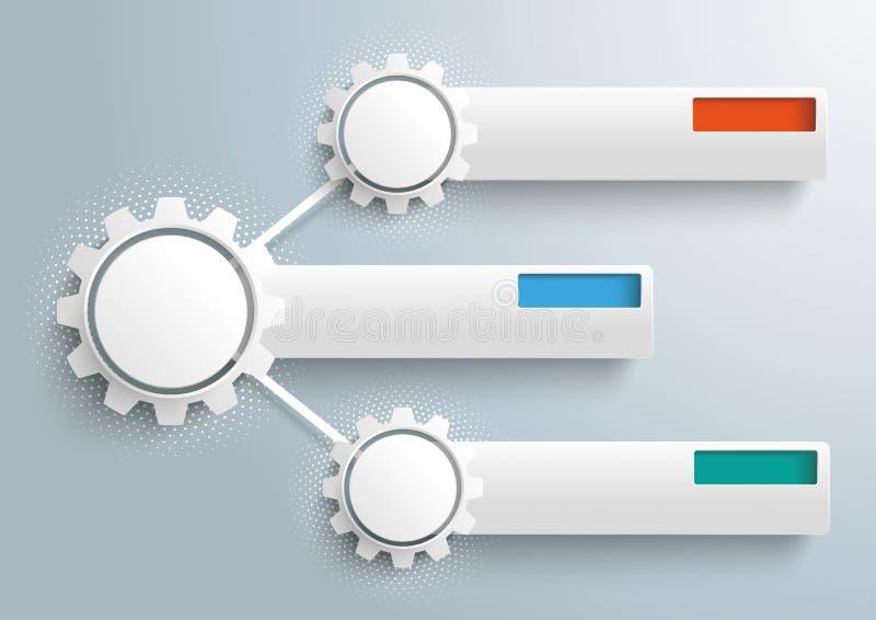Infographic 3 знамени полутонового изображения шестерней сети иллюстрация штока