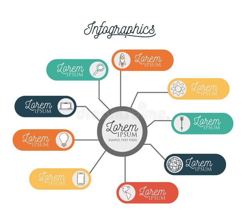 Infographic с центральным кругом соединило к красочным горизонтальный ярлыкам бар вокруг его бесплатная иллюстрация