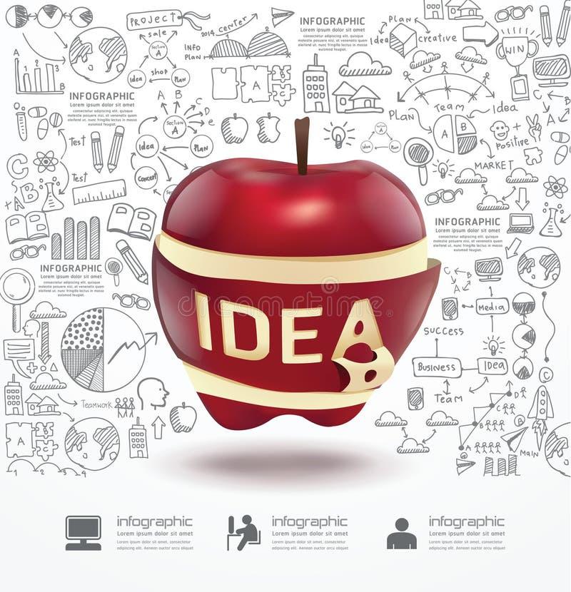 Infographic Яблоко doodles линия план стратегии успеха чертежа иллюстрация вектора