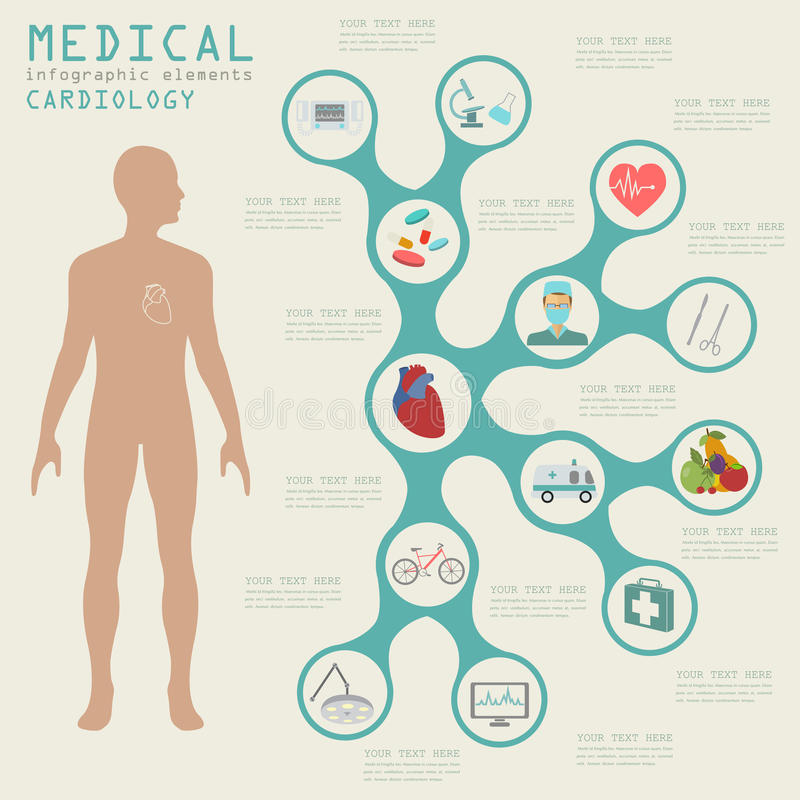 infographic医疗和的医疗保健,心脏病学infographics 向量例证