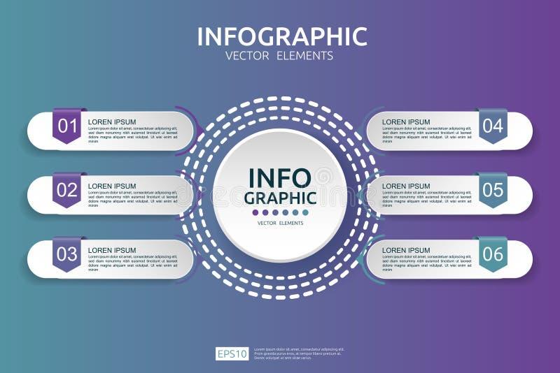 infographic 6的步 时间安排与3D纸标签的设计模板 与选择的企业概念 对内容,图,流程图, 皇族释放例证