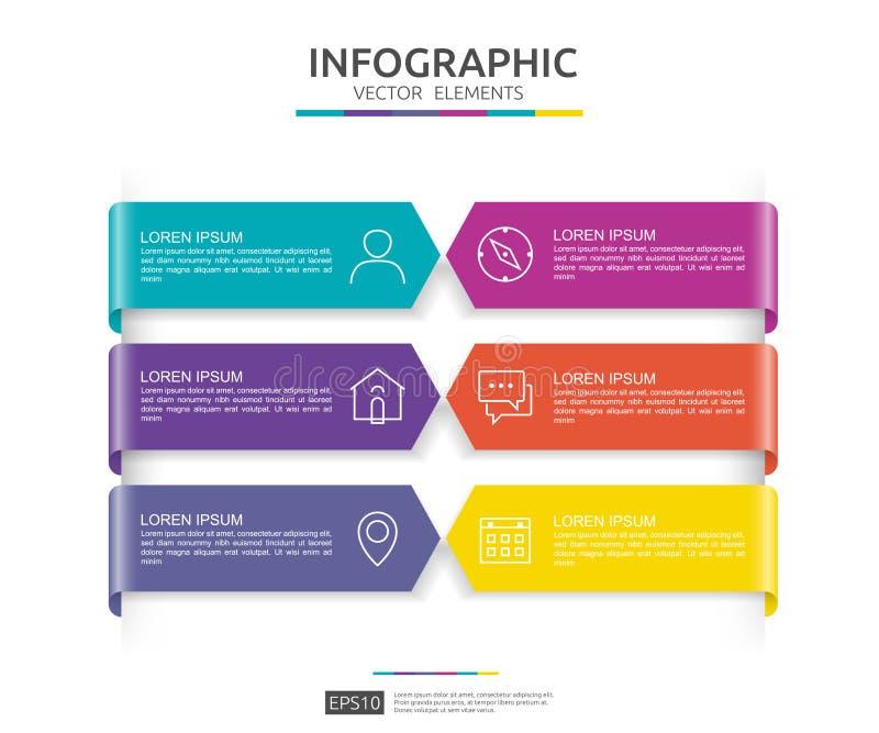 infographic 6的步 时间安排与3D纸标签的设计模板 与选择的企业概念 对内容,图,流程图, 向量例证