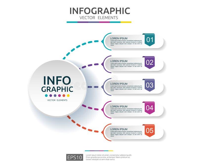 infographic 5的步 时间安排与3D纸标签的设计模板 与选择的企业概念 对内容,图,流程图, 库存例证