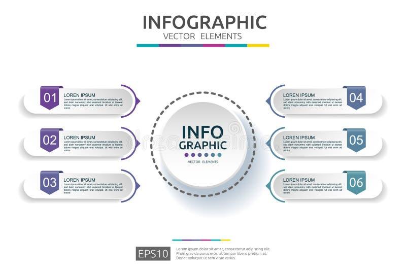 infographic 6的步 时间安排与3D纸标签的设计模板 与选择的企业概念 对内容,图,流程图, 库存例证