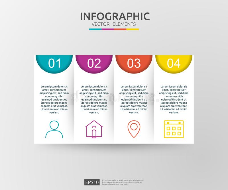 infographic 4的步 时间安排与3D纸标签的设计模板 与选择的企业概念 对内容,图,流程图, 向量例证