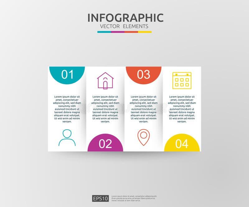 infographic 4的步 时间安排与3D纸标签的设计模板 与选择的企业概念 对内容,图,流程图, 皇族释放例证
