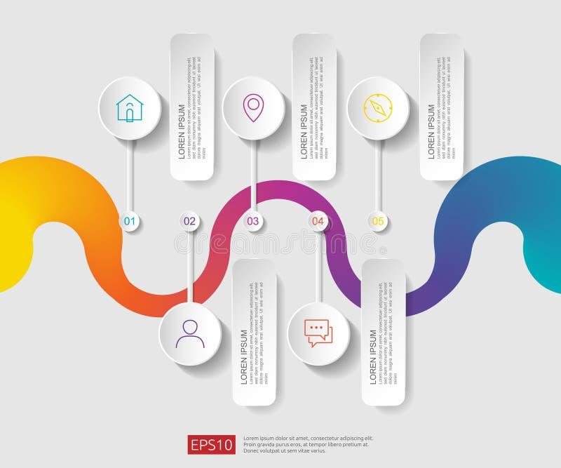 infographic 5的步 时间安排与3D纸标签,联合圈子的设计模板 与选择的企业概念 对内容, 皇族释放例证