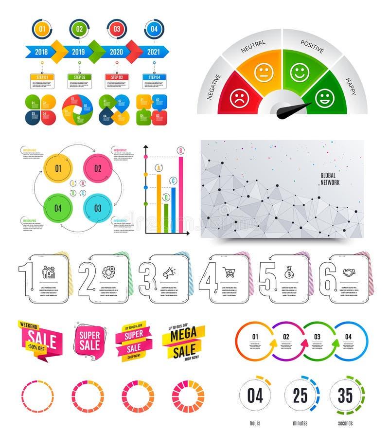 Infographic?? 财政图表,选择横幅徽章 销售形状,读秒 逻辑分析方法图,时间安排 ?? 向量例证