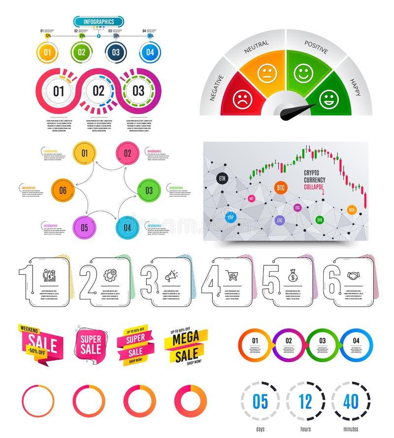 Infographic?? 财政图表,选择横幅徽章 销售形状,读秒 逻辑分析方法图,时间安排 ?? 库存例证