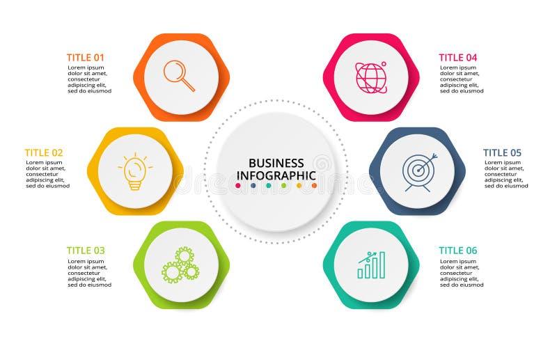 Infographic设计图、图表、介绍和圆的图的传染媒介和营销象 与6个选择的概念 向量例证