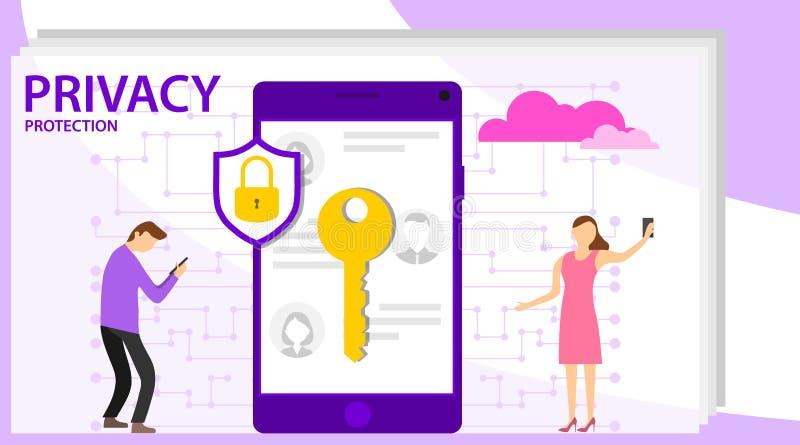 网络与字符的安全概念 Infographic,与英雄的横幅保护数据和机密 安全和 向量例证