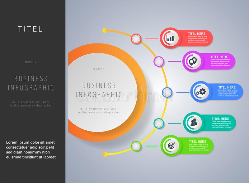 Modern business infographics template with 3d paper label. Simple of Modern business infographics template with 3d paper label design. Infographics with icons royalty free illustration