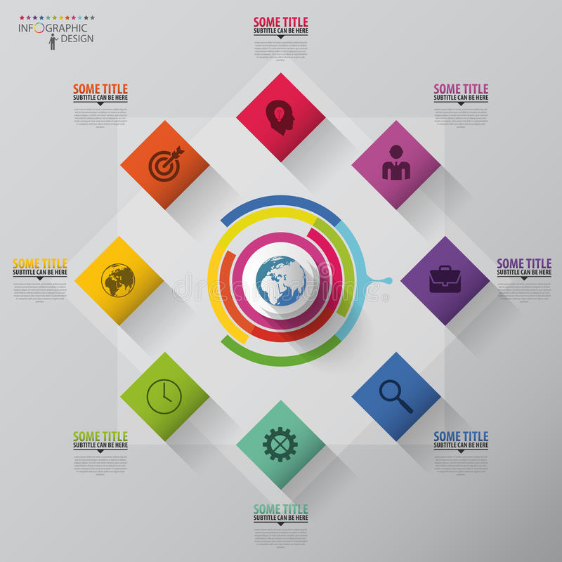 Infographic abstrait Concept d'affaires Place colorée avec des icônes Vecteur illustration stock