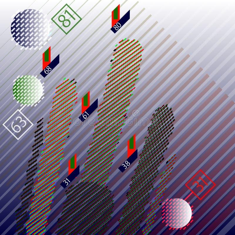 Infographic abstrakta informationstekniker om kryptografi bifokal royaltyfri illustrationer