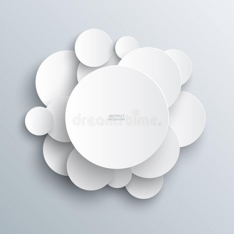 Infographic abstrakter Hintergrund der weißen Kreise stock abbildung