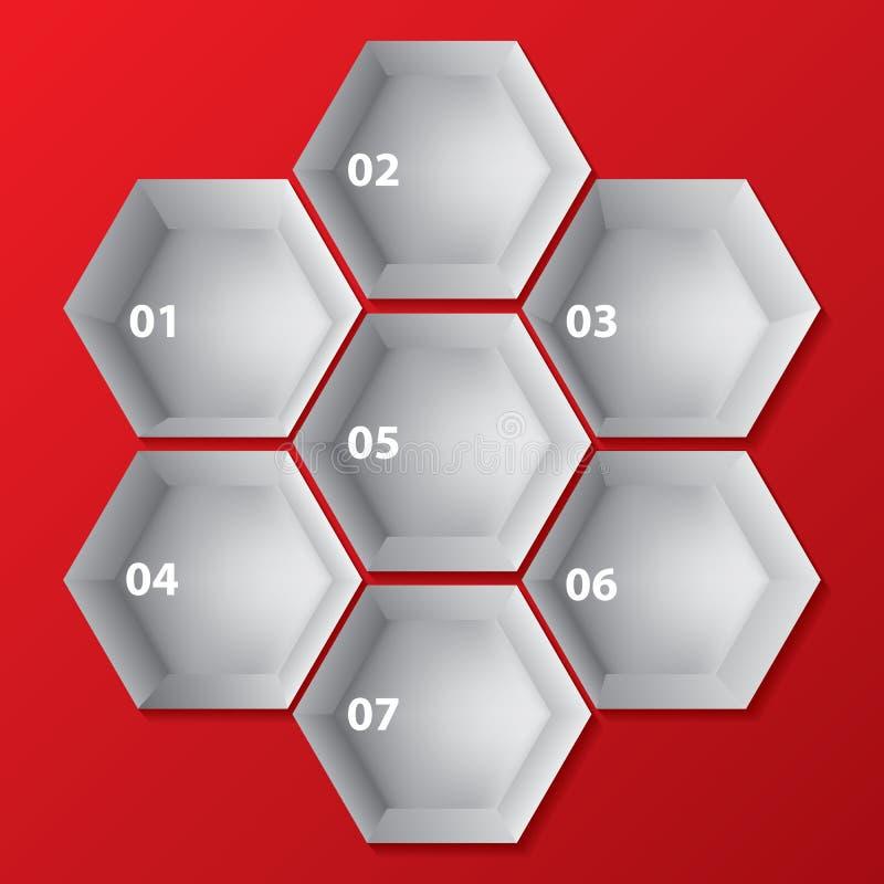 Infographic achtergrondontwerp met hexagon vormen royalty-vrije illustratie