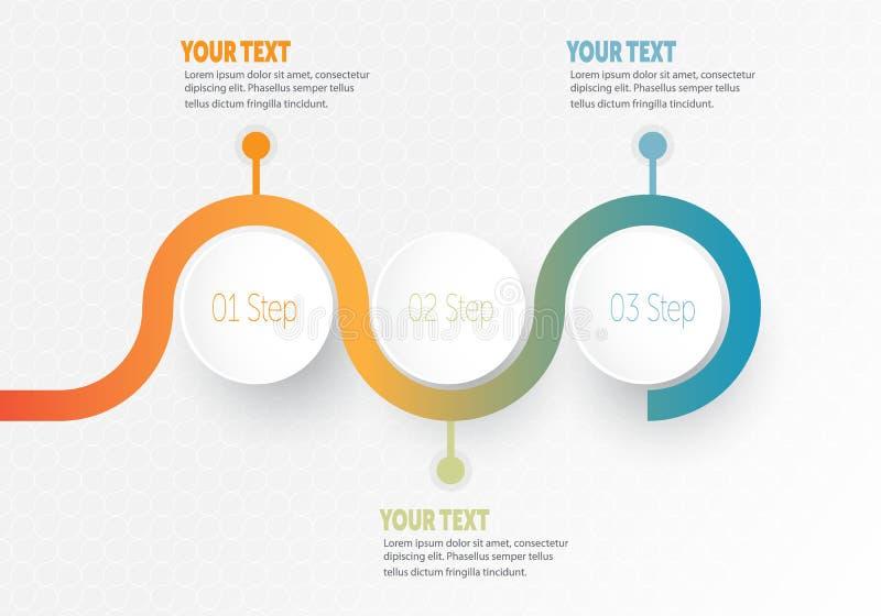 Infographic affärsbeståndsdel för vektor för timeline med cirkeln för cirkel för 3 momentetiketter royaltyfri illustrationer