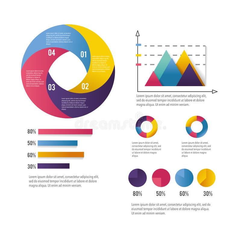 Infographic affärsdiagram med informationsstrategi royaltyfri illustrationer