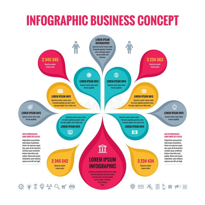 Infographic affärsidé - abstrakt bakgrund - idérik vektorillustration med färgrika kronblad och symboler royaltyfri illustrationer