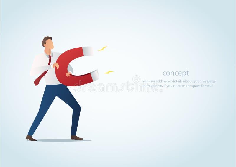 Infographic affärsidé av affärsmannen som tilldrar med magnetvektorillustrationen stock illustrationer