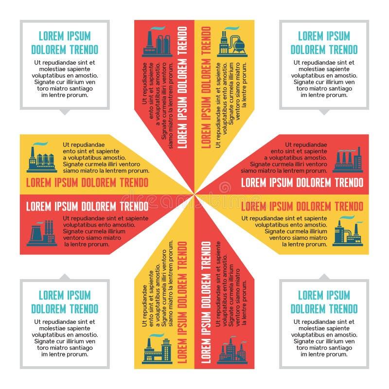 Infographic affärsidé för presentationen med fabrikssymboler i plan designstil - vektorintrig stock illustrationer