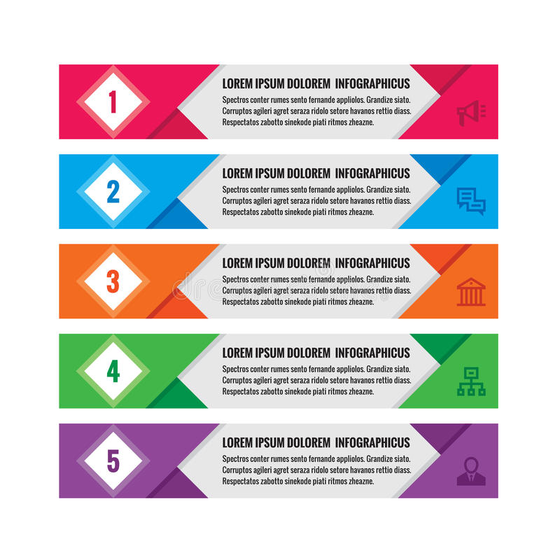 Infographic affärsidé - kulöra horisontalvektorbaner Infographic mall Infographics designbeståndsdelar vektor illustrationer