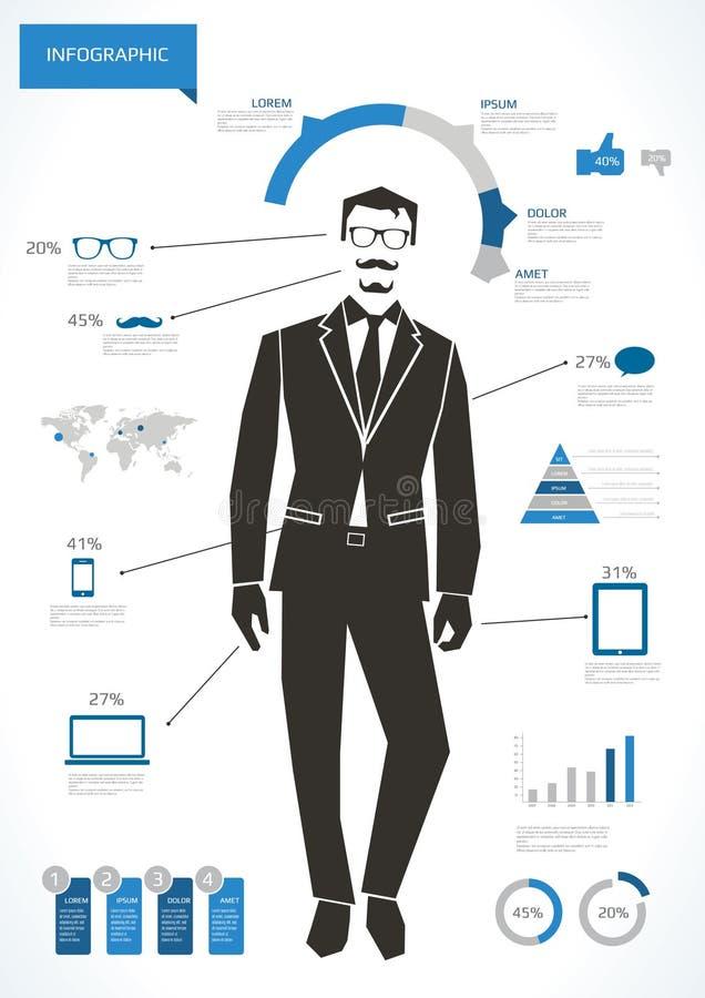 Infographic affärsman stock illustrationer
