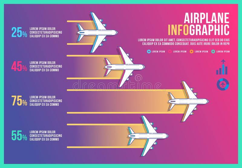 Infographic airplane design vector, graph diagram icon transport, banner background modern, timeline business airplane. vector illustration