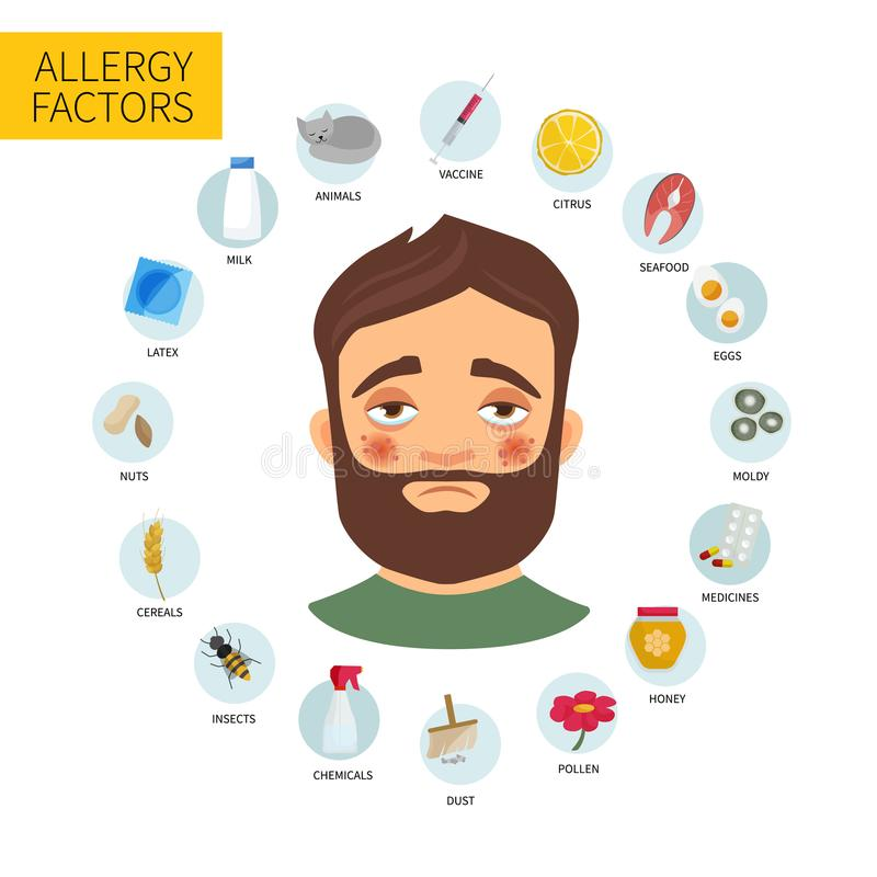 Infographic allergi vektor vektor illustrationer