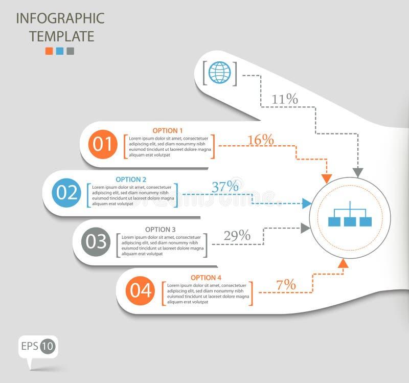 Infographic alternativ med den abstrakta handen stock illustrationer