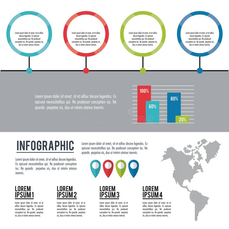 Infographic amerykanina kontynent ilustracja wektor