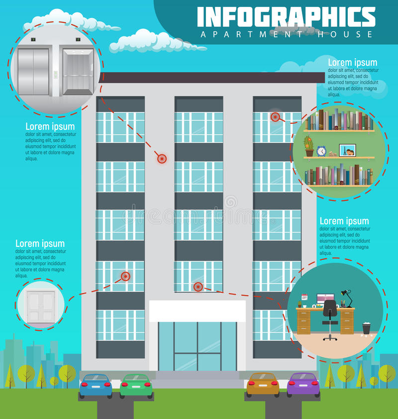 Infographic apartment house in city. Detailed modern interior in home. Rooms with furniture. royalty free illustration