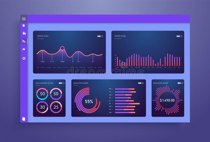 Infographic-Armaturenbrettschablone mit flachen Designdiagrammen und -diagrammen Informations-Grafikelemente stock abbildung