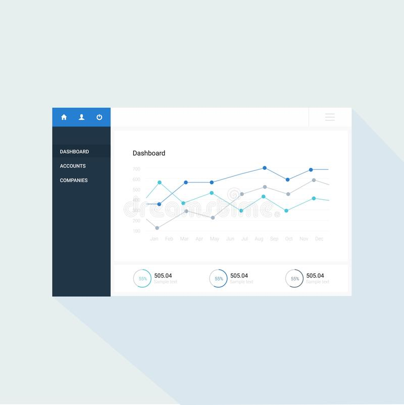 Infographic-Armaturenbrettschablone mit flachen Designdiagrammen und -diagrammen Verarbeitungsanalyse von Daten lizenzfreie abbildung