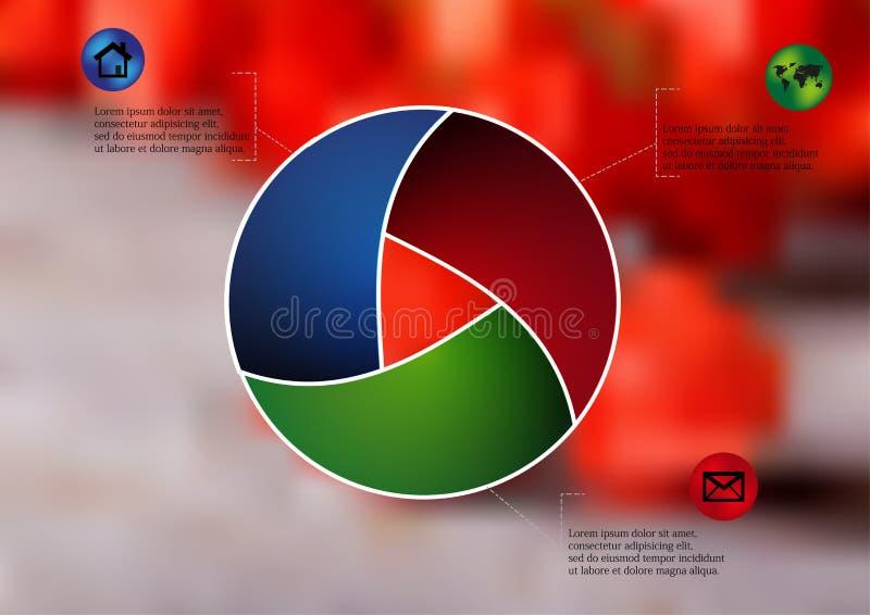 Infographic arredondado da ilustração dividido a três porções ilustração stock