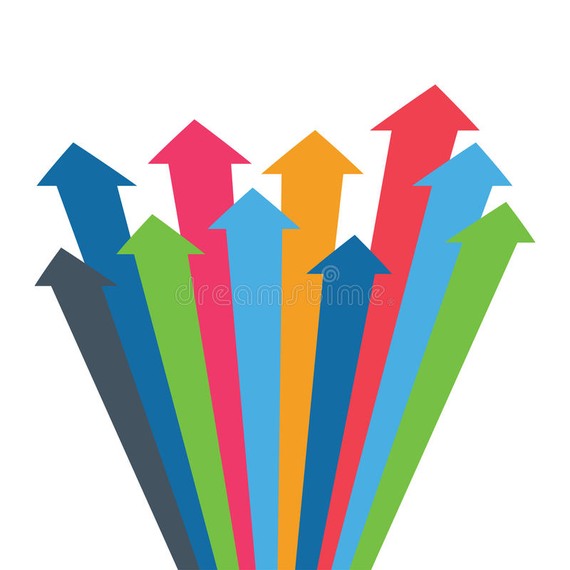 Infographic arrow. Arrows of growth, success, sales volume increase, demographic increase. 3D simple background for your pr. Infographic arrow. 3D simple stock illustration