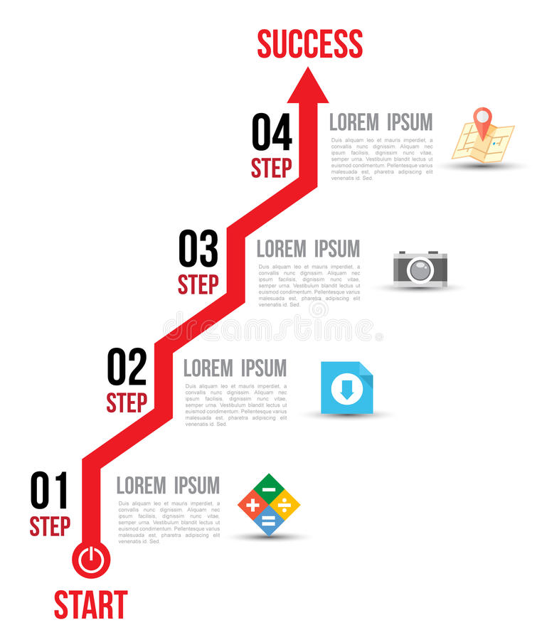 Infographic arrow diagram graph options with flat icons. for layout design template vector illustration