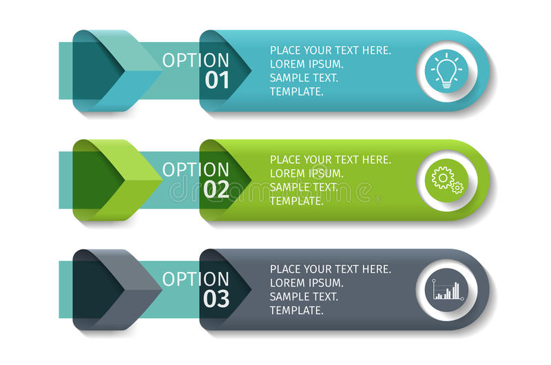 Infographic arrows with 3 step up options and glass elements. Vector template in flat design style. royalty free illustration